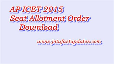 Icet For Mba by Ap Icet Seat Allotment Order 2015 Apicet Nic In
