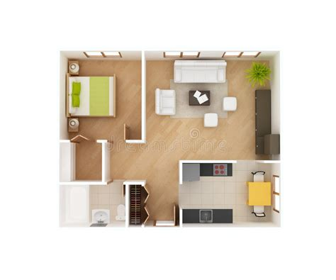 4 Bedroom House Floor Plans Basic 3d House Floor Plan Top View Stock Illustration