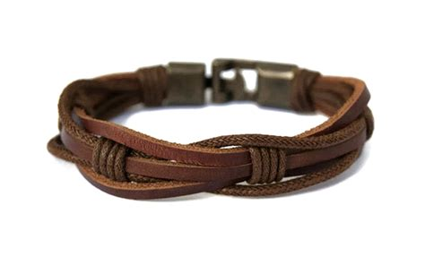 mens leather bracelet for guys brown braided rope mens