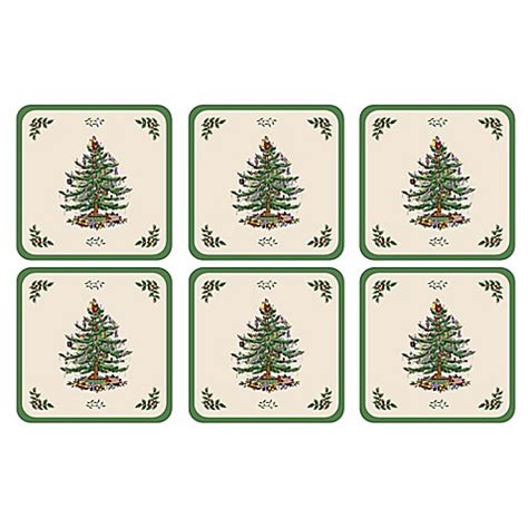 spode 174 christmas tree coasters set of 6 bed bath beyond