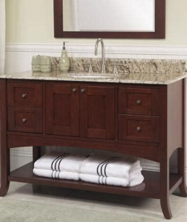 bathroom vanity open shelves current trend bath vanities with open shelves acekitchensandbaths s