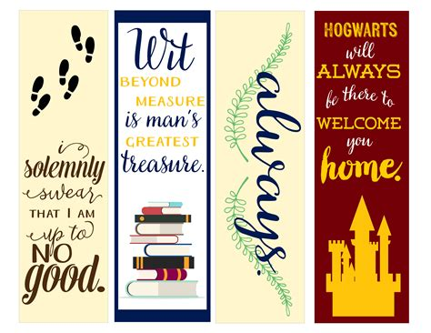 Printable Bookmarks Harry Potter | image gallery harry potter printable bookmarks