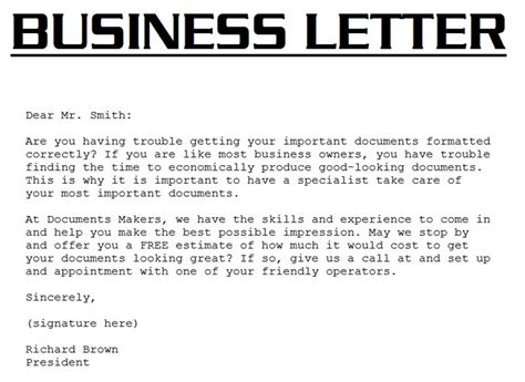Writing A Business Letter Introduction sle business letter september 2015