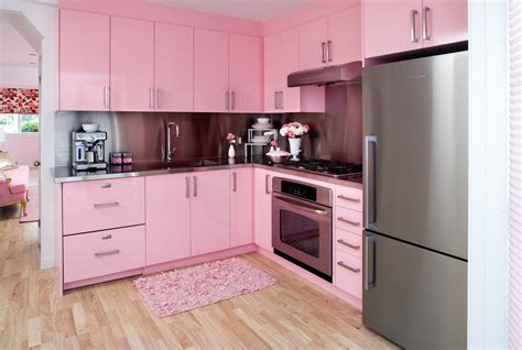 white kitchen with pink purple appliances amazing