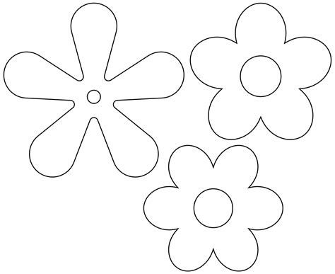 flower template 5 petals 187 retro flower icon 5petals black white line