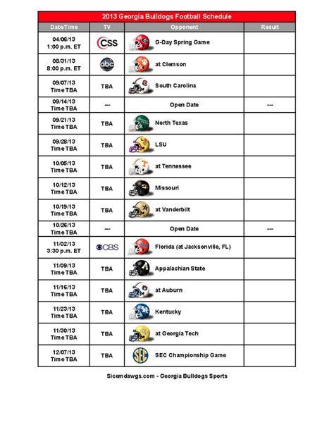 printable uga schedule georgia schedule 2015 printable calendar template 2016