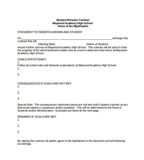 student contract template 23 simple contract template and easy tips for your