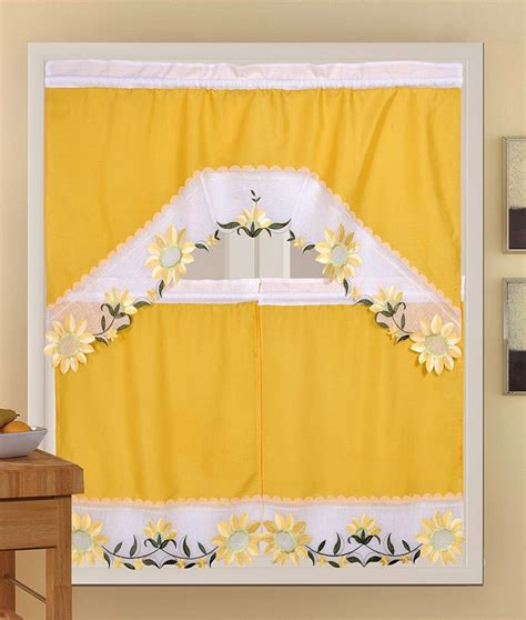 Yellow Swag Kitchen Curtains by Sunflower 3 Floral Embroidered Sheer Kitchen Curtain
