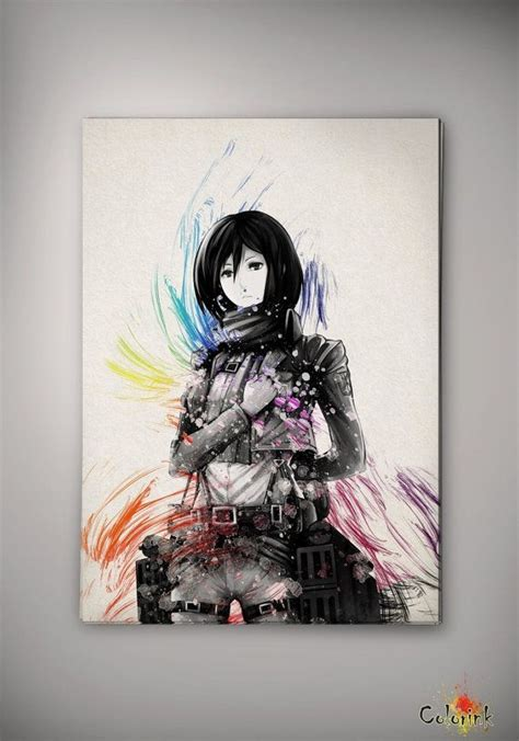 mikasa home decor watercolor attack on titan mikasa ackermann print home