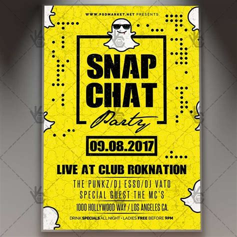 Snap Chat Party Premium Flyer Psd Template Free And Premium Psd Templates Snapchat Ad Template