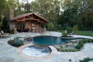 Backyard Guest House Plans Inground Pool Amp Spa With Cabana Rustic Pool New York