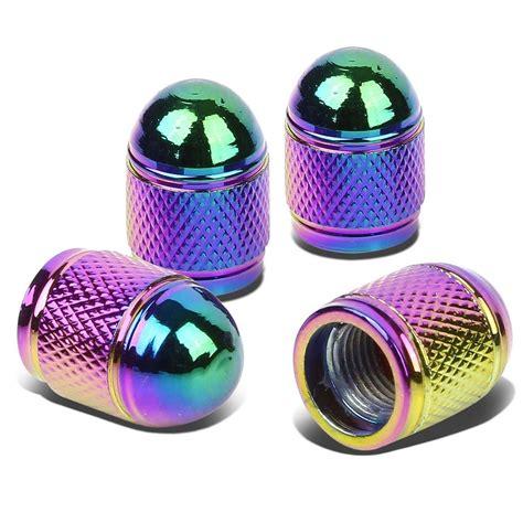 rainbow chrome bullet style polished aluminum rainbow chrome tire valve