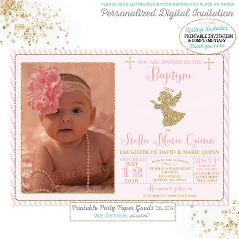 Baptism Invitations by Baptism Invitation Baptism Invitation Pink Gold