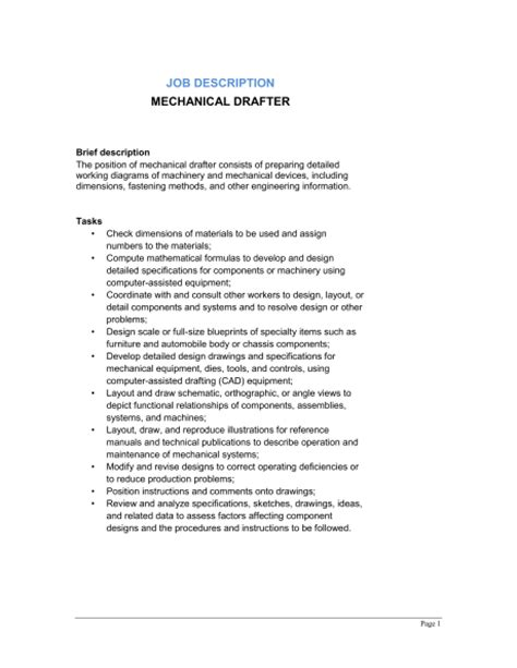 layout drafter job description mechanical drafter job description template sle