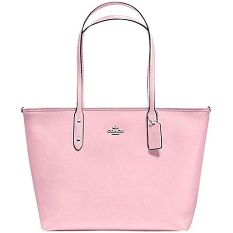 D Renbellony Tote Bag Pink pre owned coach city zip in crossgrain leather f36875