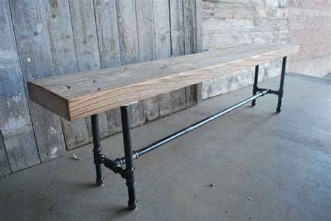 pipe bench legs reclaimed wood industrial bench with steel pipe legs 1 65