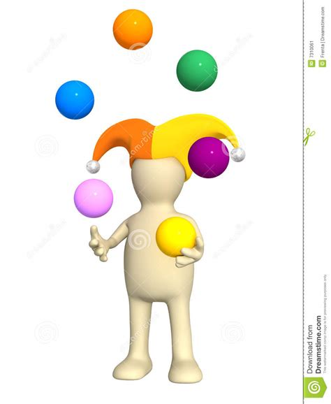 juggler 3d pattern 3d clown puppet juggling with balls stock image image