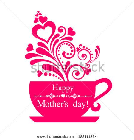 mother s day designs love you coffee tea quote valentines stock vector