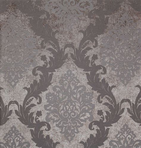 Grey Embossed Wallpaper | 10m vintage grey silver damask embossed texture background