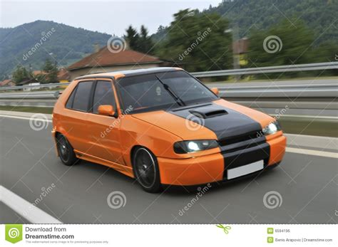orange sports cars orange sport car drive fast royalty free stock image