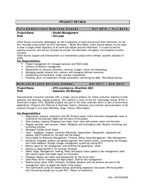 test manager resume sle test manager resume