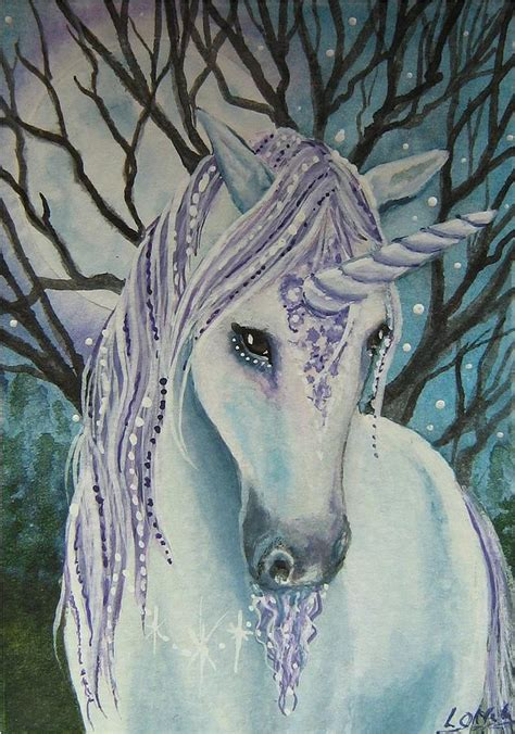 painting unicorn moonlight painting moonlight print by