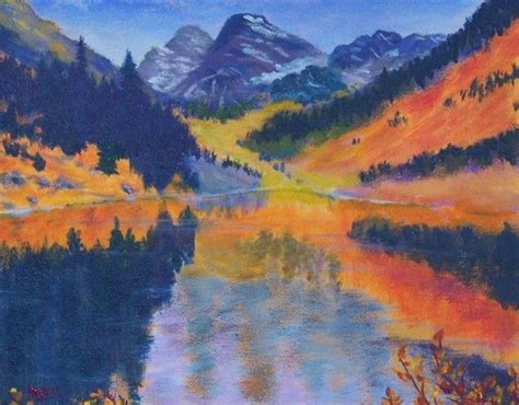 acrylic painting mountains maroon bells mountain painting 11x14 acrylic on stretched