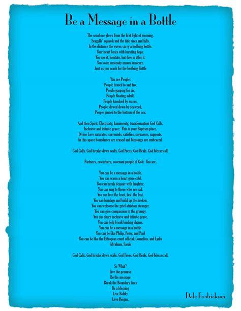 message in a bottle spoken word dale fredrickson