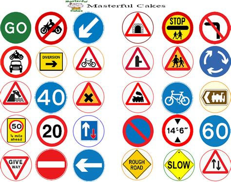 printable road code test 30 x mixed highway code road sign edible wafer or icing