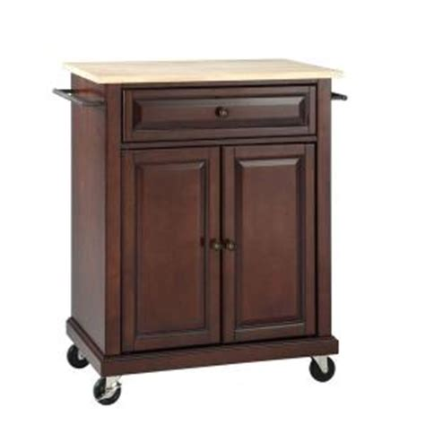 Home Depot Kitchen Carts by Crosley 28 1 4 In W Wood Top Mobile Kitchen