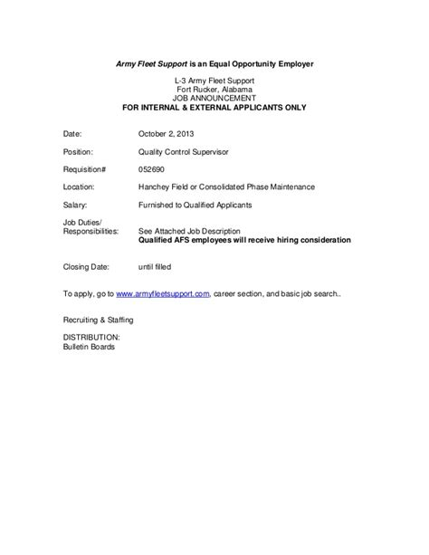 Army Fleet Support Cover Letter by Quality Supervisor L 3 Army Fleet Support Announcement