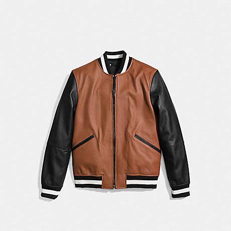 coach f86146 leather varsity jacket saddle/black