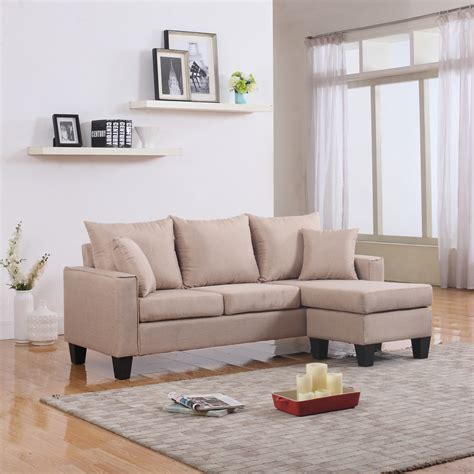 Modern Fabric Small Space Sectional Sofa With Reversible Modern Small Sectional Sofa