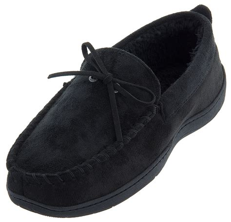 dockers mens slippers dockers black micro suede moccasin slippers for