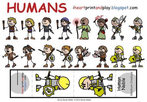 printable paper miniatures d d iheartprintandplay human d d minis