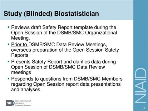 dsmb report template investigator ppt