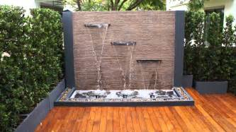Backyard water features for landscaping design ideas with outdoor wall