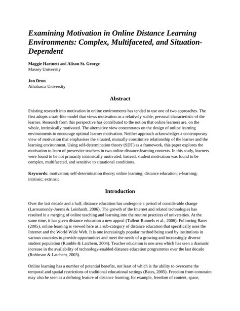 Research Paper On Motivation In Education by Examining Motivation In Distance Pdf Available