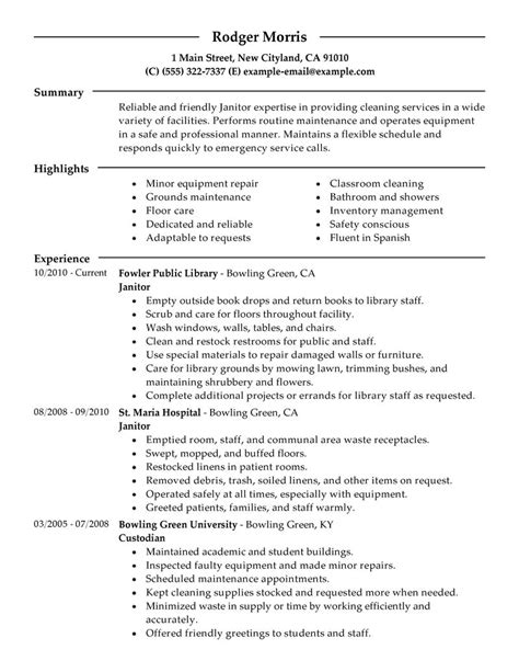 maintenance janitorial resume exles maintenance janitorial resume sles livecareer
