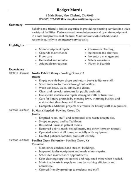 Maintenance Janitorial Resume Examples Samples LiveCareer