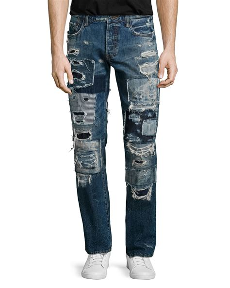 Patchwork Denim - prps barracuda patchwork distressed denim in blue