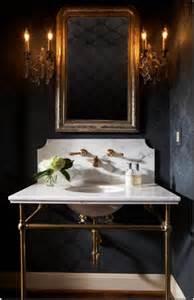 Antique Brass Crystal Chandelier Powder Rooms Make A Statement Essence Design Studios Llc