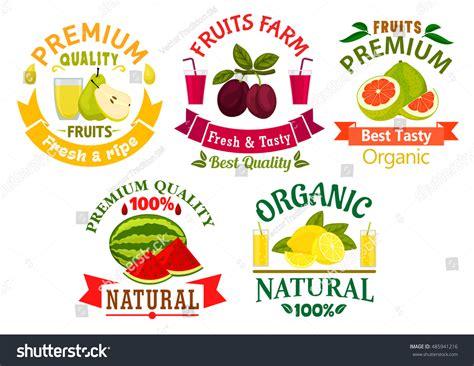 Fruit Juice Fresh Green Plum Juice organic fruits badges fresh lemon stock vector