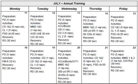 army pt calendar exle calendar template 2016