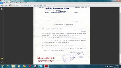 Bank Statement Letter For Student Visa Bank Statement Sle Images