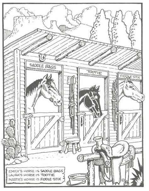 horse barn coloring page horse in barn coloring pages