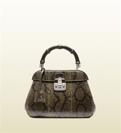 Gucci Python Bag by Gucci Lock Python Top Handle Bag In Green Moss Lyst