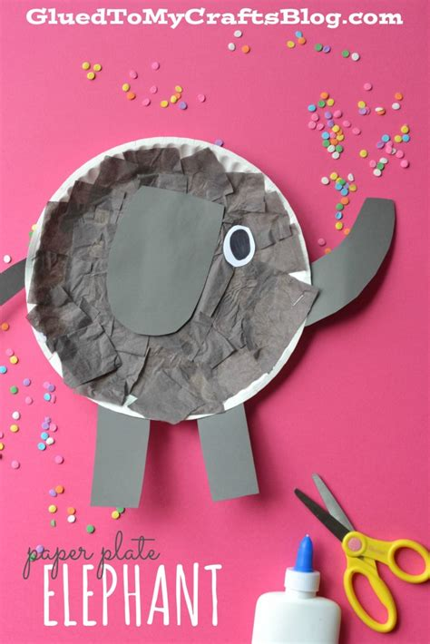 Elephant Paper Craft - paper plate elephant kid craft glued to my crafts