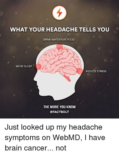 Brain Cancer Meme - what your headache tells you drink watereat food more