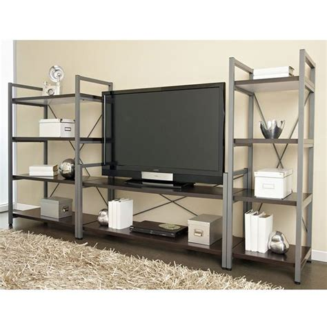 wide bookcase industrial tv stand and bookshelf